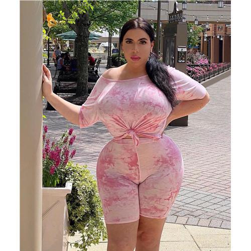 Plus Size Tie Dye Pink T-Shirt and Biker Shorts 2pcs Set