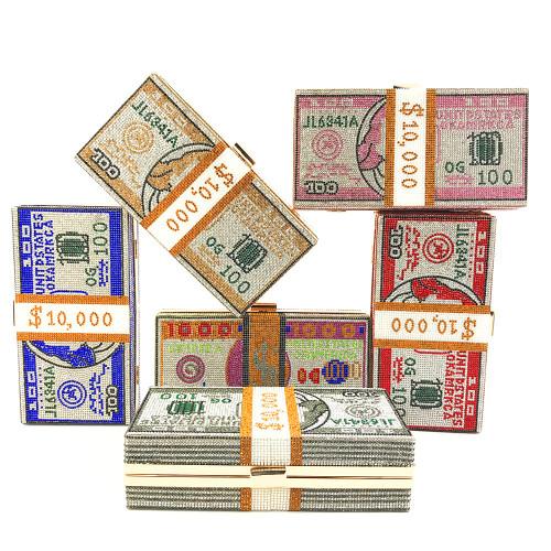 Crystal USD Dollars Rhinestone Purse Clutch Bag for Women