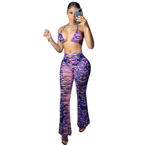 Print 3pcs Swimwear Set Thong Bikini with Beach Pants