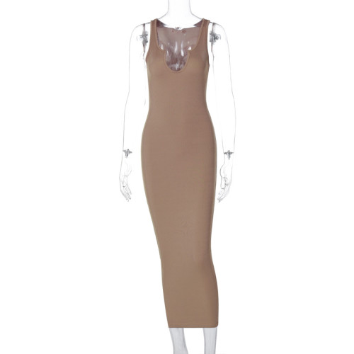 Sexy Brown Ribbed U Neck Bodycon Tank Dress