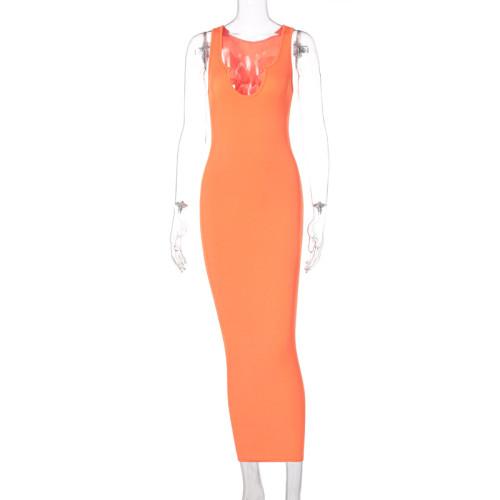 Sexy Orange Ribbed U Neck Bodycon Tank Dress
