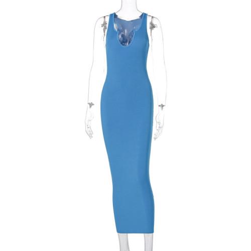 Sexy Blue Ribbed U Neck Bodycon Tank Dress