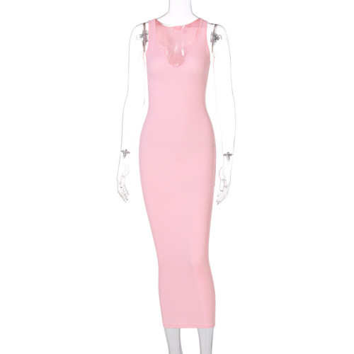 Sexy Pink Ribbed U Neck Bodycon Tank Dress