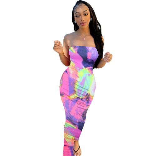 Tie Dye Hot Pink Long Tube Dress