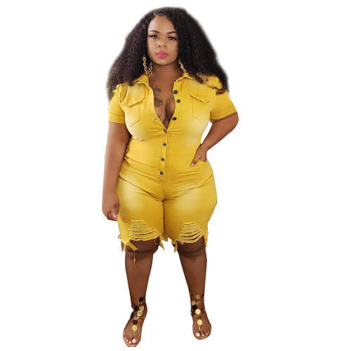 Plus Size Blue Ripped Denim Rompers