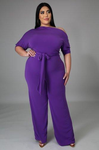 Plus Size Purple Skew Neck Tie Waist Wide Leg Jumpsuit