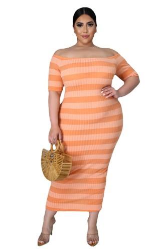 Plus Size Orange Ribbed Stripes Short Sleeve Long Dress