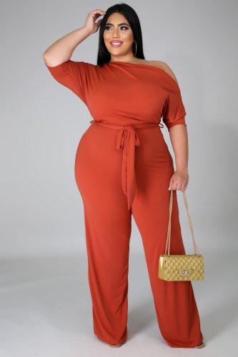Plus Size Skew Neck Tie Waist Wide Leg Orange Jumpsuit