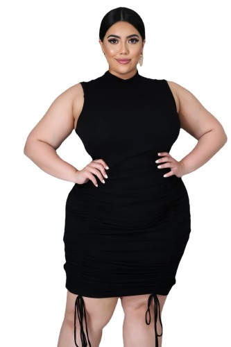 Plus Size Ribbed Drawstring Ruched Sleeveless Bodycon Dress
