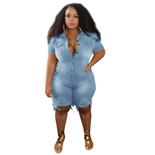 Plus Size Yellow Ripped Denim Rompers