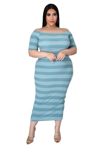 Plus Size Light Blue Ribbed Stripes Short Sleeve Long Dress