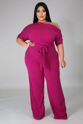 Plus Size Hot Pink Skew Neck Tie Waist Wide Leg Jumpsuit