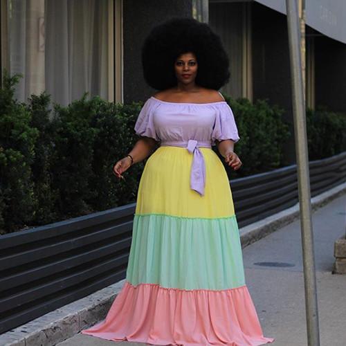 Plus Size Color Block Off Shoulder Half Sleeve Maxi Dress