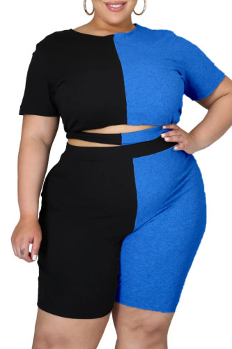 Color Block Plus Size Ribbed Two  Piece Shorts Set