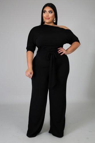 Plus Size Black Skew Neck Tie Waist Wide Leg Jumpsuit