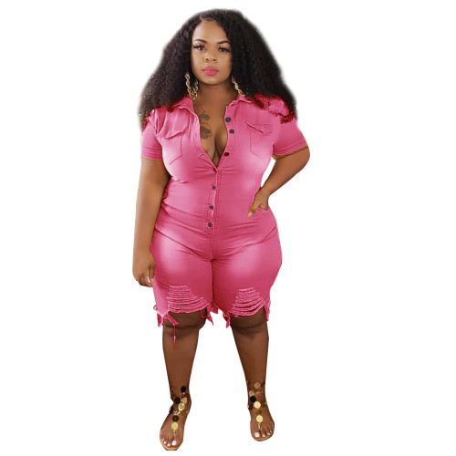 Plus Size Pink Ripped Denim Rompers