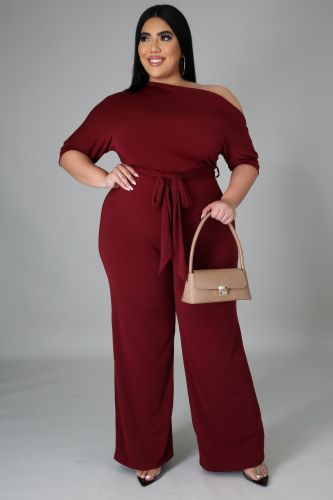 Plus Size Burgundy Skew Neck Tie Waist Wide Leg Jumpsuit