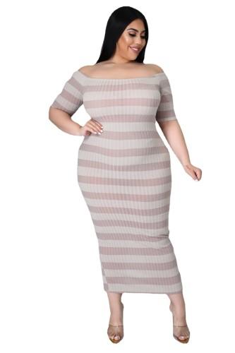 Plus Size Ribbed Stripes Short Sleeve Long Dress