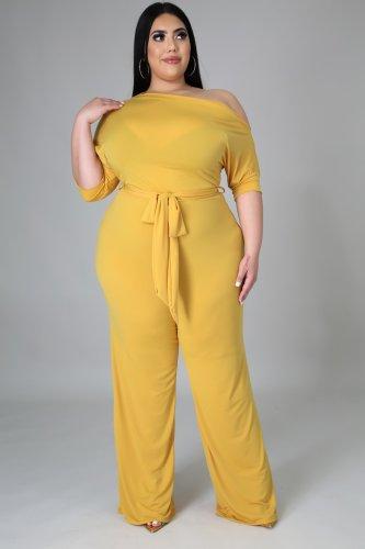 Plus Size Skew Neck Tie Waist Wide Leg Yellow Jumpsuit