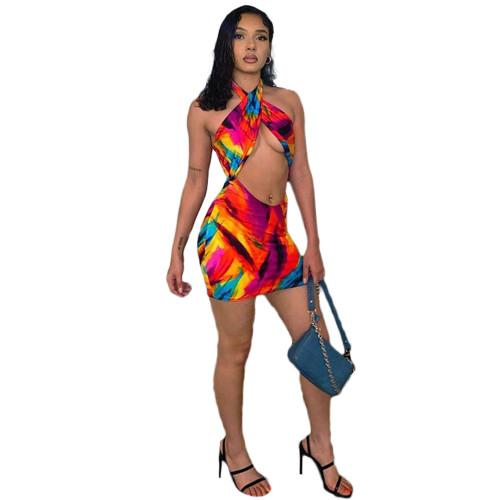 Sexy Print Hollow Out Wrap Halter Bodycon Mini Dress