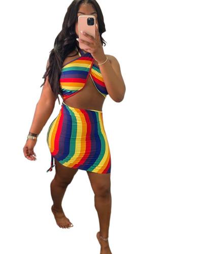 Print Wrap Halter Hollow Out Sexy Drawstring Mini Dress