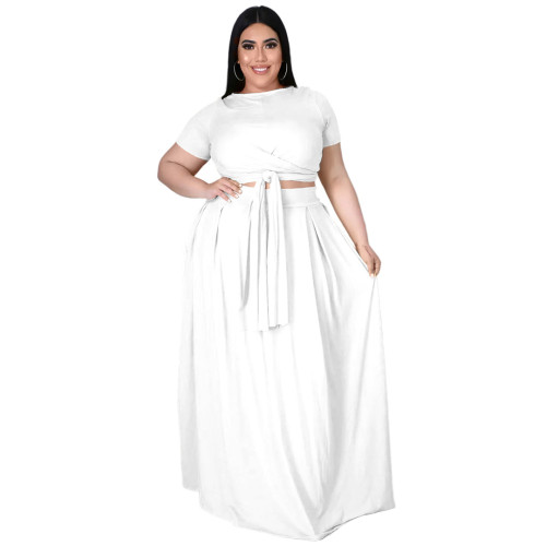Plus Size White Wrap Around Crop Top and Long Skirt Set