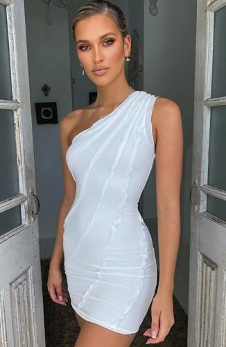 White Frilled One Shoulder Mini Club Dress