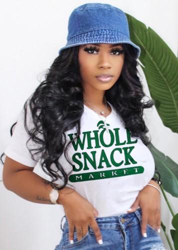 Print White V-Neck T-Shirt