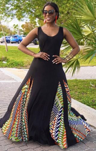 Black Sleeveless O-Neck Splicing African Maxi Dress