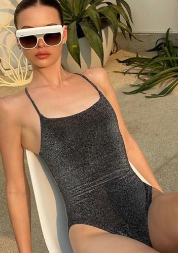 Black Sexy Lurex Cami One-Piece Bodysuit