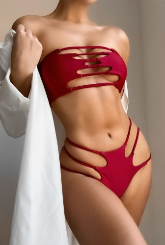 Solid Sexy Hollow Out Bandeau Two Piece Swimwear