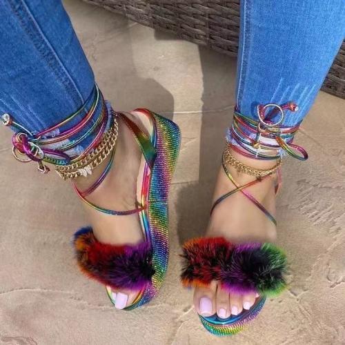 Trendy Fake Fur High Platform Strappy Sandal