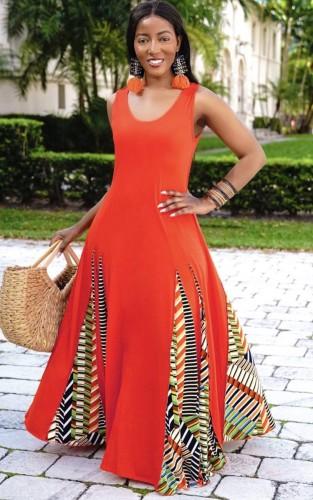 Red Sleeveless O-Neck Splicing African Maxi Dress