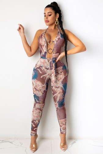 Print Sexy Halter O-Rings Tight Jumpsuit