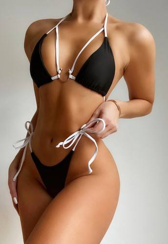 Black and White U-Ring Tie Sides Bikini Set