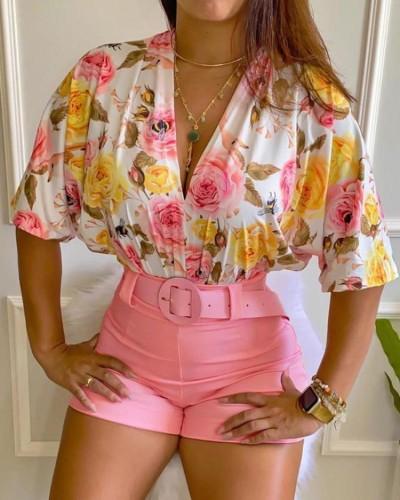 Print V-Neck Floral Blouse and Solid Shorts Set