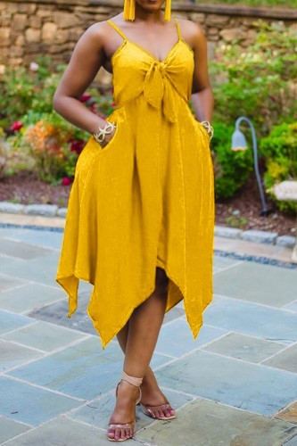 Plus Size Yellow Tie Front Strap Irregular Dress