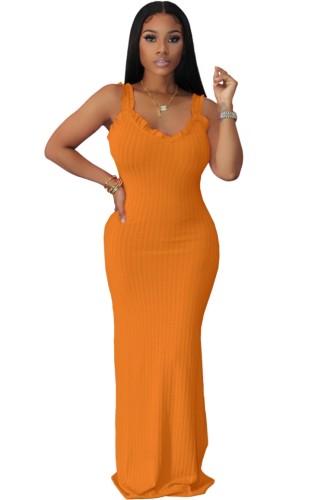 Orange Ruffles Strap Ribbed Slit Maxi Dress