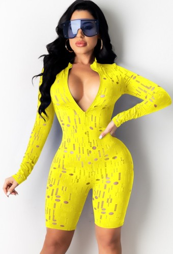 Yellow Sexy Hollow Out Long Sleeve Zip Front Bodycon Rompers