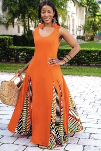 Orange Sleeveless O-Neck Splicing African Maxi Dress