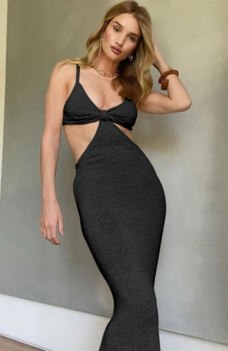 Sexy Black Hollow Out Cami Mermaid Long Dress