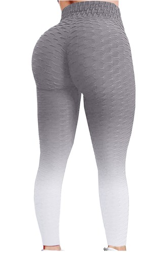 Grey Gradient High Waist Textured Sexy Fitted Yoga Leggings