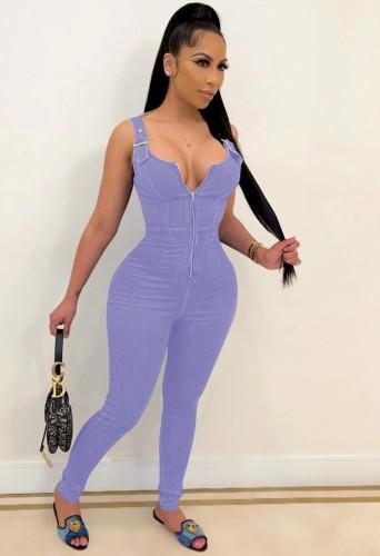 Hot Sale Purple Buckle Strap Zip Up Bodycon Denim Jumpsuit