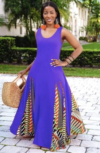 Blue Sleeveless O-Neck Splicing African Maxi Dress