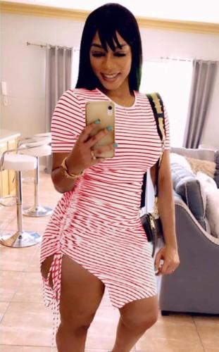 O-Neck Pink Stripes Ruched Drawstring T-Shirt Dress