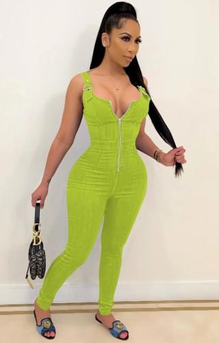 Hot Sale Green Buckle Strap Zip Up Bodycon Denim Jumpsuit