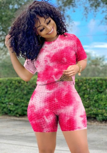 Two Piece Tie Dye Textrued Tee and Shorts Set