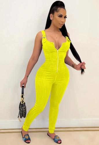 Hot Sale Yellow Buckle Strap Zip Up Bodycon Denim Jumpsuit