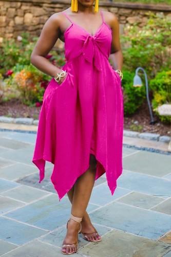 Plus Size Pink Tie Front Strap Irregular Dress