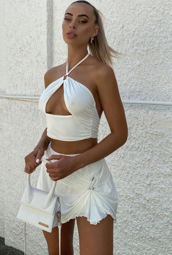 White Sexy Halter Hollow Out Crop Top and Mini Skirt Set